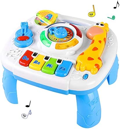 WomToy Toddler Learning Table, 6 Months Up Musical Educational Learning Activity Table Center Toys for Toddlers Infants Kids 1 2 3 Year Olds Boys & Girls- Lighting & Sound Gifts