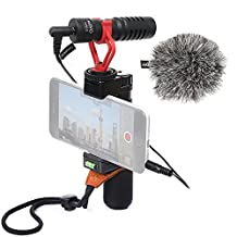Movo Smartphone Video Rig with Shotgun Microphone, Grip Handle, & Wrist Strap for iPhone 5, 5C, 5S, 6, 6S, 7, 8, X (Regular and Plus), Samsung Galaxy, Note and More