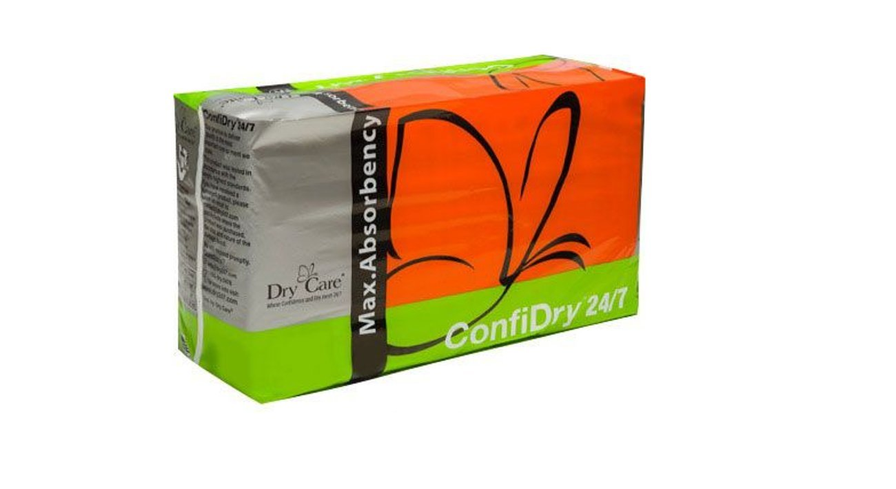 Dry Care's ConfiDry Maximum Absorbency Briefs, Elastic Waist, Refastenable Tabs, Night and Day, 24/7 Wear, (Medium 4 Bag)