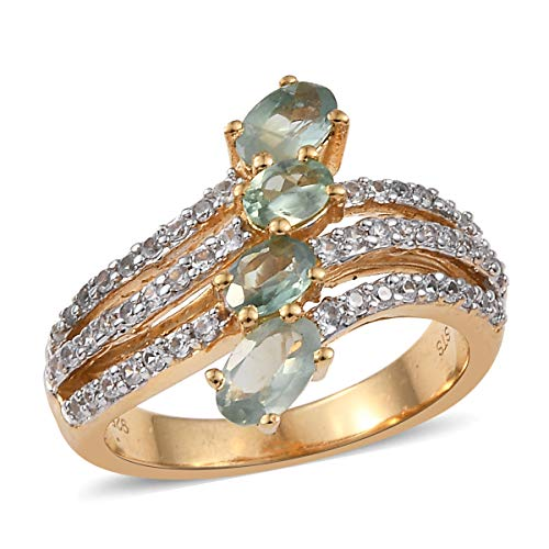 Bypass Ring 925 Sterling Silver Vermeil Yellow Gold Alexandrite Zircon Jewelry for Women Size 8 Ct 1.2