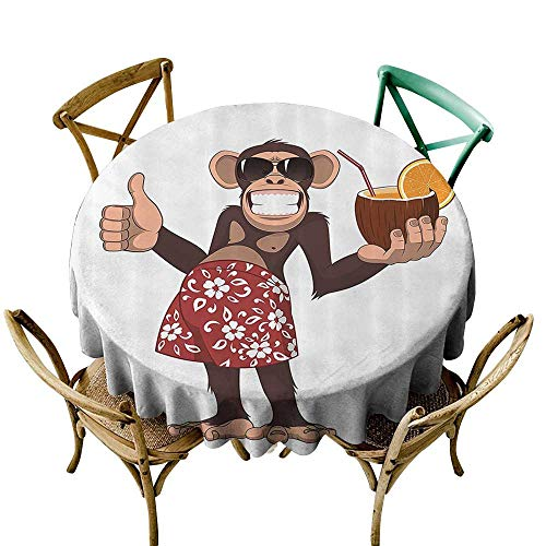 Jbgzzm Decorative Textured Fabric Tablecloth Cartoon Decor Collection Happy Chimpanzee Holding a Cocktail and Smiling Giggle Ape Cheerful Comic Art Soft and Smooth Surface D51 Brown Orange -