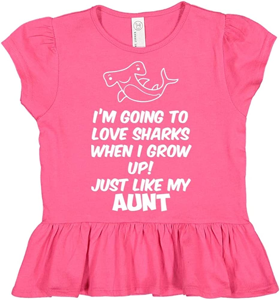 Toddler//Kids Ruffle T-Shirt Im Going to Love Sharks When I Grow Up Just Like My Aunt