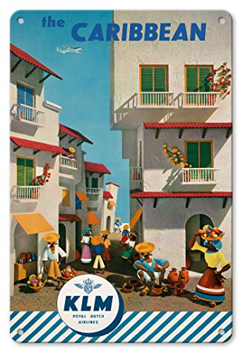 - Pacifica Island Art 8in x 12in Vintage Tin Sign - The Caribbean - Royal Dutch Airlines KLM by J. F. Van Der Leeuw