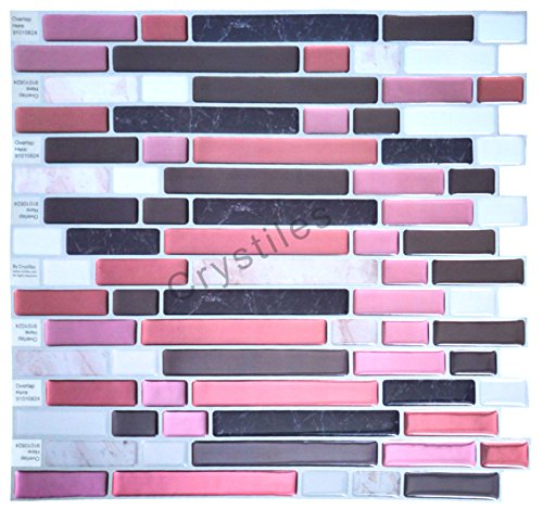 "Crystiles peel and stick DIY backsplash tile stick-on vinyl wall tile, perfect backsplash idea for kitchen and bathroom décor projects, Item #91010824, 10"" X 10"" each, 6 sheets pack"