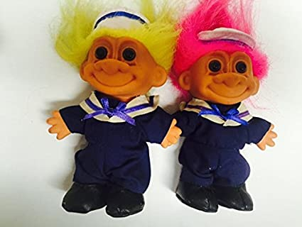 amazon com 2 russ treasure troll sailor 6 quot dolls with yellow