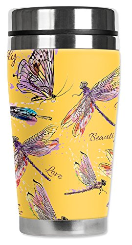 Mugzie 16 Ounce Stainless Steel Travel Mug with Wetsuit Cover - Dragonfly - Travel Mug Dragonfly