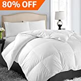 Queen/Full Soft Goose Down Alternative Quilted Comforter Luxury Hotel Collection Reversible Duvet Insert with Corner Tab,Warm Fluffy Hypoallergenic for All Season,White,88 by 88 Inches