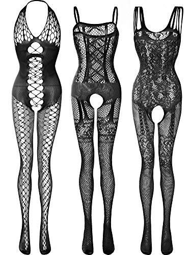 3 Pieces Women's Lace Stockings Lingerie Floral Fishnet Bodysuits Lingerie Nightwear for Romantic Date Wearing (Black)
