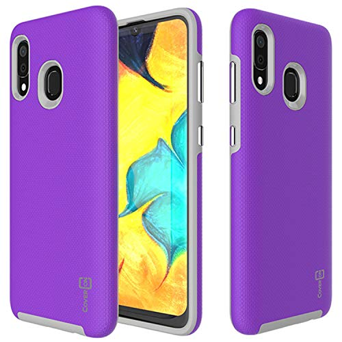 Galaxy A30 Case, Galaxy A20 Case, Shockproof Tough Protective Premium Hard Phone Case with Easy-Press Metalized Buttons for Samsung Galaxy A30 / Galaxy A20 (2019) - CoverON Rugged Series (Purple)