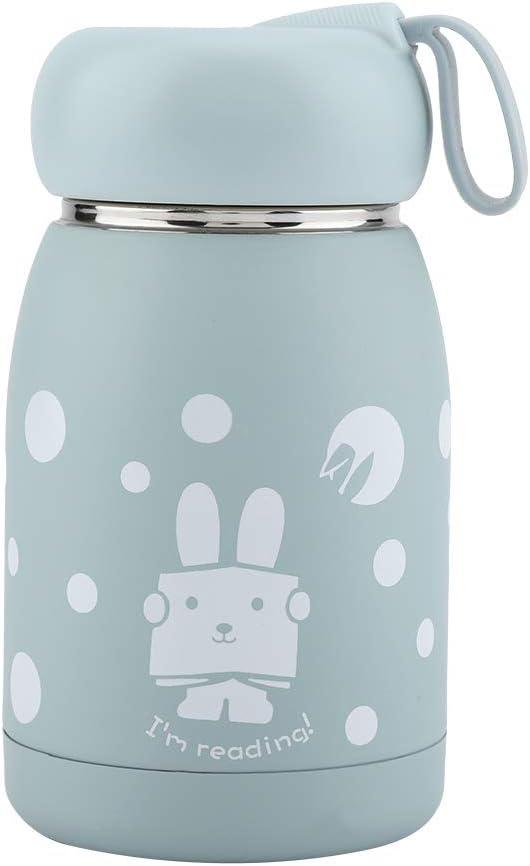 HelloCreate - Taza al vacío de acero inoxidable, con diseño de conejo, termo, botella de agua para viajes, oficina, escuela, picnic (rosa)