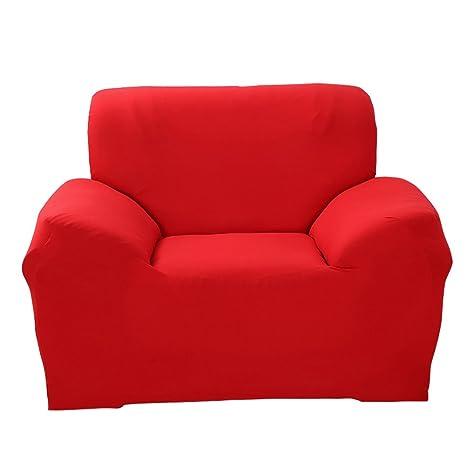 SHANNA Funda de sofá 1 2 3 4 Funda de sofá Funda de Asiento Antideslizante sofá sofá sofá elástico Tejido Protector por, Rojo, 1-Seater Chair + 1pcs ...