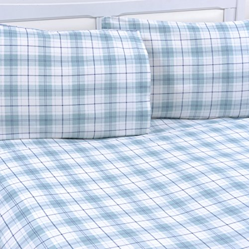 Mellanni 100% Cotton 4 Piece Printed Flannel Sheets Set - Deep Pocket - Warm - Super Soft - Breathable Bedding (Full, Plaid Blue)