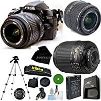 D3200 24.2 MP CMOS Digital SLR, NIKKOR 18-55mm f/3.5-5.6 Auto Focus-S DX VR, 55-200mm f4-5.6G ED Auto Focus-S DX Nikkor, Tripod, 6pc Cleaning Set