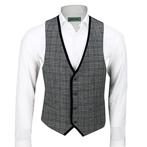 (Mens Vintage Herringbone Tweed Check Velvet Trim Retro Tailored Fit Waistcoat Vest in Oak Brown Grey [Chest UK 36 EU 46,Charcoal Grey ])