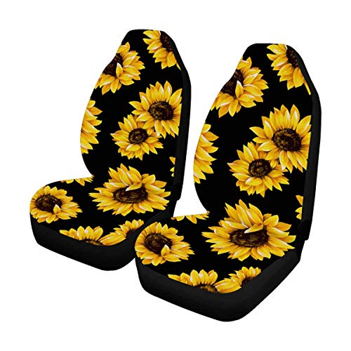 InterestPrint Lovely Sunflower Front Seat Covers 2 pc, Car Seat Covers Front Seats Only Universal Fit