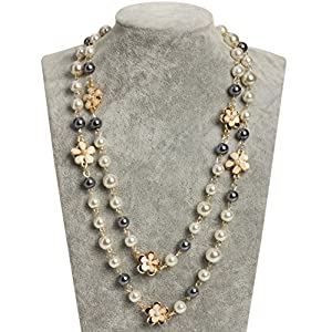 Fashion Jewelry MISASHA bridal and chic Long imitation pearl clover strand necklace (Flower Charms)