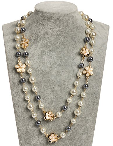 Fashion Jewelry MISASHA bridal chic Long imitation pearl clover strand necklace (Flower Charms) (Womens Ivory Necklace)