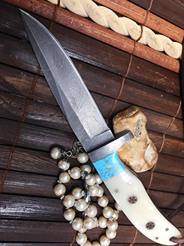 Perkin Handmade Damascus Steel Hunting Knife - Bone and Turquoise Handle -9  inches long