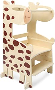 PP OPOUNT Kids Step Stool Toddler Kitchen Stool Kids Standing Tower Wooden Child Step Stool with Adjustable Standing Platform, Giraffe Style