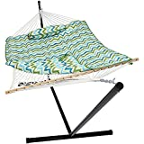 Sunnydaze Cotton Rope Hammock with 12 Foot Portable Steel Stand and Spreader Bar