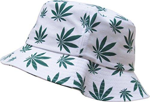 "The ""Original Mary-J"" Print Bucket Hats by KBETHOS,(022) Mary J - White,One Size (Medium to Large)"
