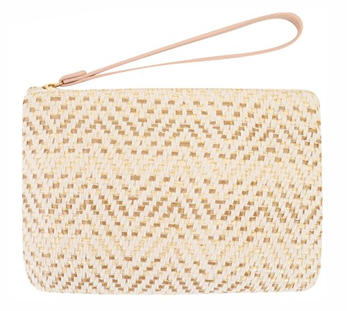 Clutch Bag Apricot - Agneta Women's Hand Wrist Type Straw Summer Beach Sea Handbag (Apricot Small)