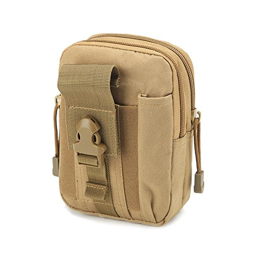 Multi-Purpose Tool Holder Pouch Durable Utility Tactical Waist Pack Army Camo Molle Bag with Zipper Nylon Tool Holder EDC Pouch Mobile Phone Belt Bag for Military Camping Hiking HGJ08-US Khaki