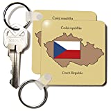 3dRose The map and flag of the Czech Republic with Czech Republic printed in English and Czech - Key Chains, 2.25 x 4.5 inches, set of 6 (kc_37582_3)