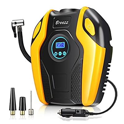 Breezz Tire Inflator, Air Compressor Pump, 12V DC Portable Auto Tire Pump with Digital Display Pressure Gauge up to 150PSI for Car, Bicycle and Other Inflatables
