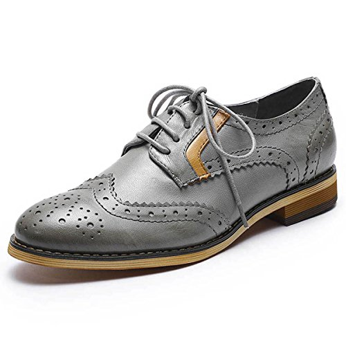 Mona flying Womens Leather Perforated Brogue Wingtip Derby Saddle Oxfords Shoes for Womens ladis Girls Grey