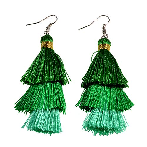 AD Beads Fashion Charm Crystal Silk Tassel 3 Layers Multiple Colored Ombre Bohemian Fan Fringe Dangle Earrings (21 Emerald-Green-Peacock)