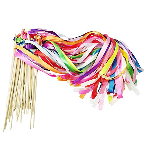 CODOHI 50 Pack Ribbon Fairy Wands Party Sticks Streamers with Bells for Kids Birthday Favors-Waving in The Dance Party-Mixed Color