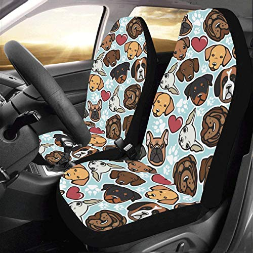 Dog Breed Fabric - Artsadd Dog Breeds Fabric Car Seat Covers (Set of 2) Best Automobile Seats Protector