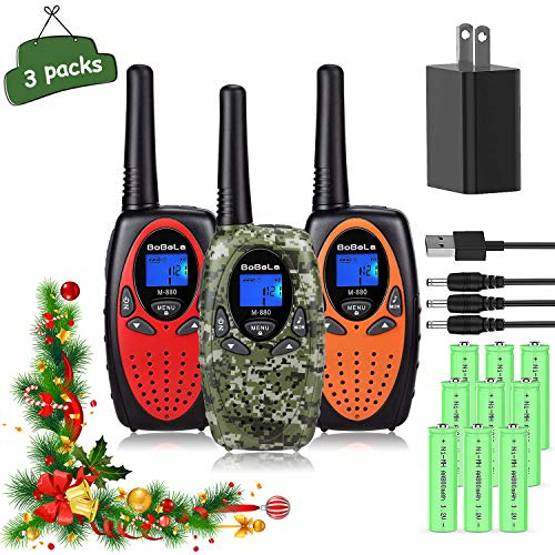 Bobela 3 Walkie Talkies for Kids Rechargeable with Charger Battery, Long Range 2 Way Radios Walkie Talkies for Adults, Fun Christmas Birthday Gifts Toys for Outdoor Adventure Camping Hiking Travelling