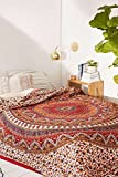 Popular Handicrafts Hippie Mandala Bohemian Psychedelic Intricate Floral Design Indian Bedspread Magical Thinking Tapestry Kerala Tapestry 84x90 Inches,(215x230cms) Red