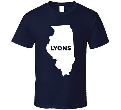 Lyons Illinois Map.Amazon Com Lyons Illinois City Map Usa Pride T Shirt Clothing