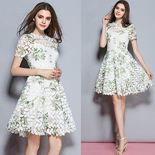 ZHUDJ Dos Conjuntos De High-End Vestido De Encaje De Ganchillo Hembra _ Imprimir Vestido De Dos Slim Picture color