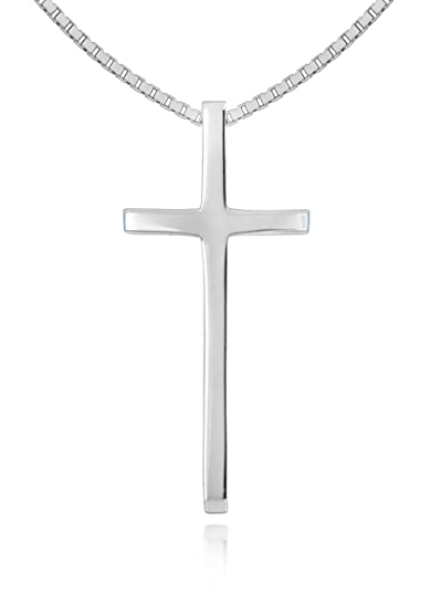 Tuscany Silver Sterling Silver Cross on Box Chain Necklace of 46cm/18 LSxekipZG