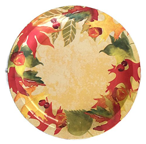 Fall Harvest Theme Disposable Dining Set - Paper Plates, Napkins & Serving Platter - Leaf/berry/acorn Pattern by Mixed