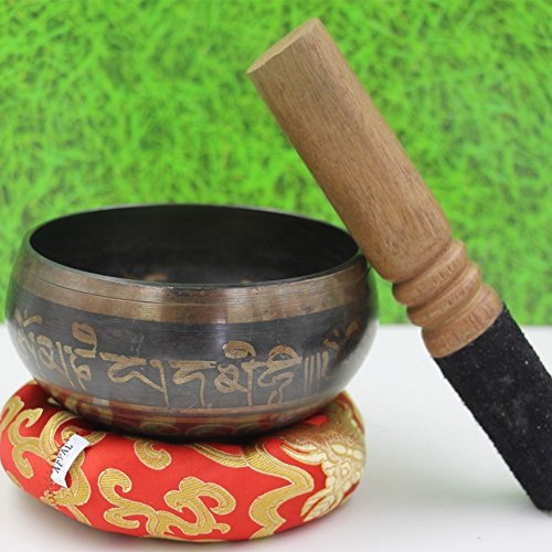 Tibetan Singing Bowl Set- MKLOT Chakras Healing & Meditation Yoga Sound Bowl with Leather Mallet 6.89