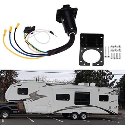 Plug Mounting Bracket - COROTC 4 Way Flat to 7 Way Blade Trailer Adapter, Trailer RV Boat Plug with Mounting Bracket