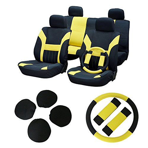 (cciyu Seat Cover Universal Car Seat Cushion w/Headrest Covers/Steering Wheel/Shoulder Pads - 100% Breathable Car Seat Cover Washable Auto Covers Replacement fit for Most Cars(Black/Yellow))