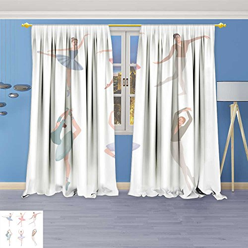 - SOCOMIMI Print Woven Sateen Window Curtain, Ballet Dancer Vector in Flat Style Girl and Guy in Tutu Dress Panel Pair with Grommet Top, 108W x 72L inch