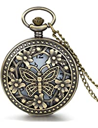 Retro Design Bronze Butterfly Flower Openwork Cover Pocket Quartz Watch with 31.5 Inch Chain