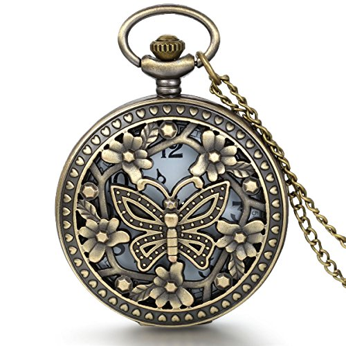 JewelryWe Retro Design Bronze Butterfly Flower Openwork Cover Pocket Quartz Watch with 31.5 Inch Chain by Jewelrywe