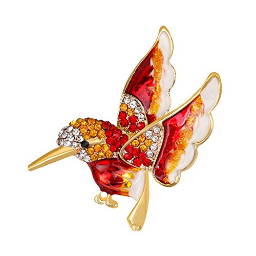 (lightclub Fashion Bird Rhinestone Alloy Women's Brooch Pin Dress Sweater Clothes Ornament Formal Clothes Red)