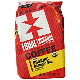 Equal Exchange Organic Ground Coffee, Midnight Sun, 10-Ounce Bag (Pack of 6) 17 Contains 6 bags, 10 oz per bag (60 oz) TASTE: Organic Midnight Sun Whole Bean Coffee with Bold & Intense, Smoky Flavors of Cherry & Milk Chocolate ROAST: French Roast Blend