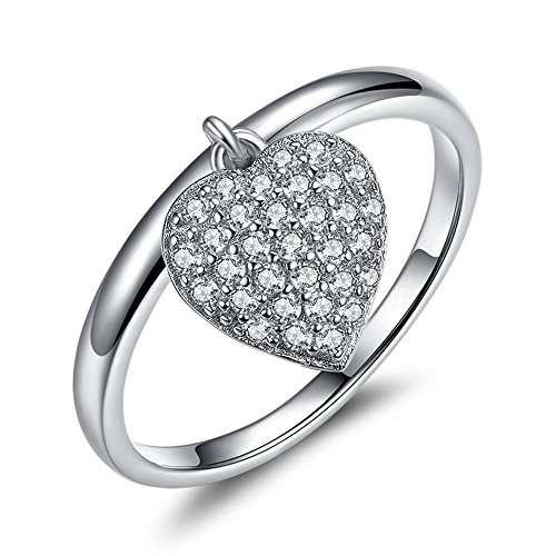 Costume Power Rangers Rose (FOREWE 925 Sterling Silver Heart Finger Ring With Clear CZ Crystal Engagement Jewelry (7))