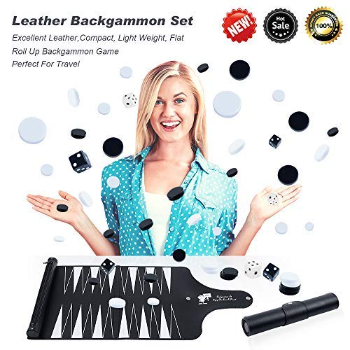 Travel Backgammon Set with New Detachable Portable Roll Up Design,Leather Backgammon Set with Backgammon Chess Checkers Inside,Leather Backgammon Board Game Set for Home Outdoor (Black)