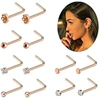 FIBO STEEL 12 Pcs 20G L Shaped Nose Rings Studs Rose Gold Body Jewelry Piercing CZ Inlaid
